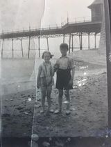 Joan and Dennis Bishop next to the old Iron Pier (mother and uncle of local resident Carole Copeland)